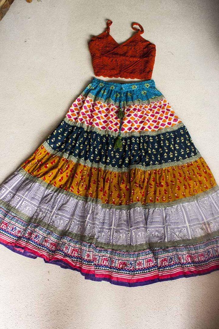 Bohemian Gypsy strokenrok multicolor blauw oker