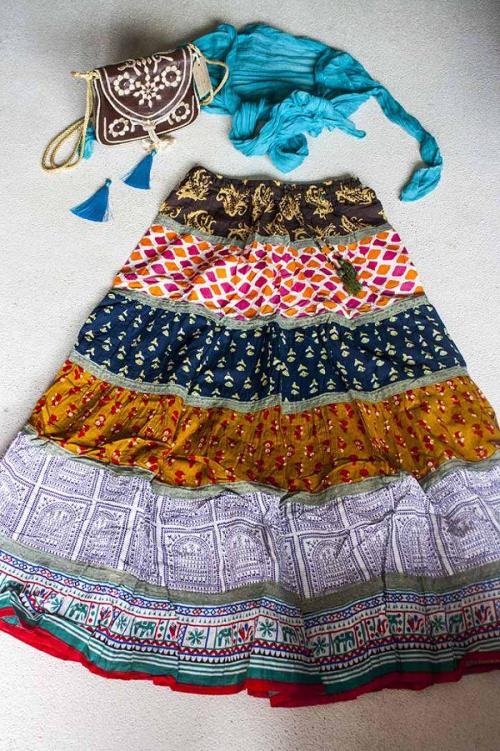 Bohemian Gypsy strokenrok multicolor bruin donkerblauw oker