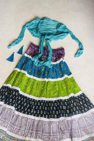 Bohemian Gypsy strokenrok multicolor groen blauw paars