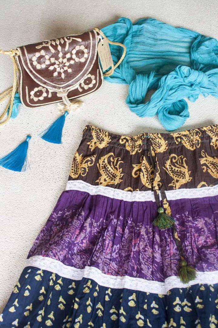 Bohemian Gypsy strokenrok multicolor oker paars bruin