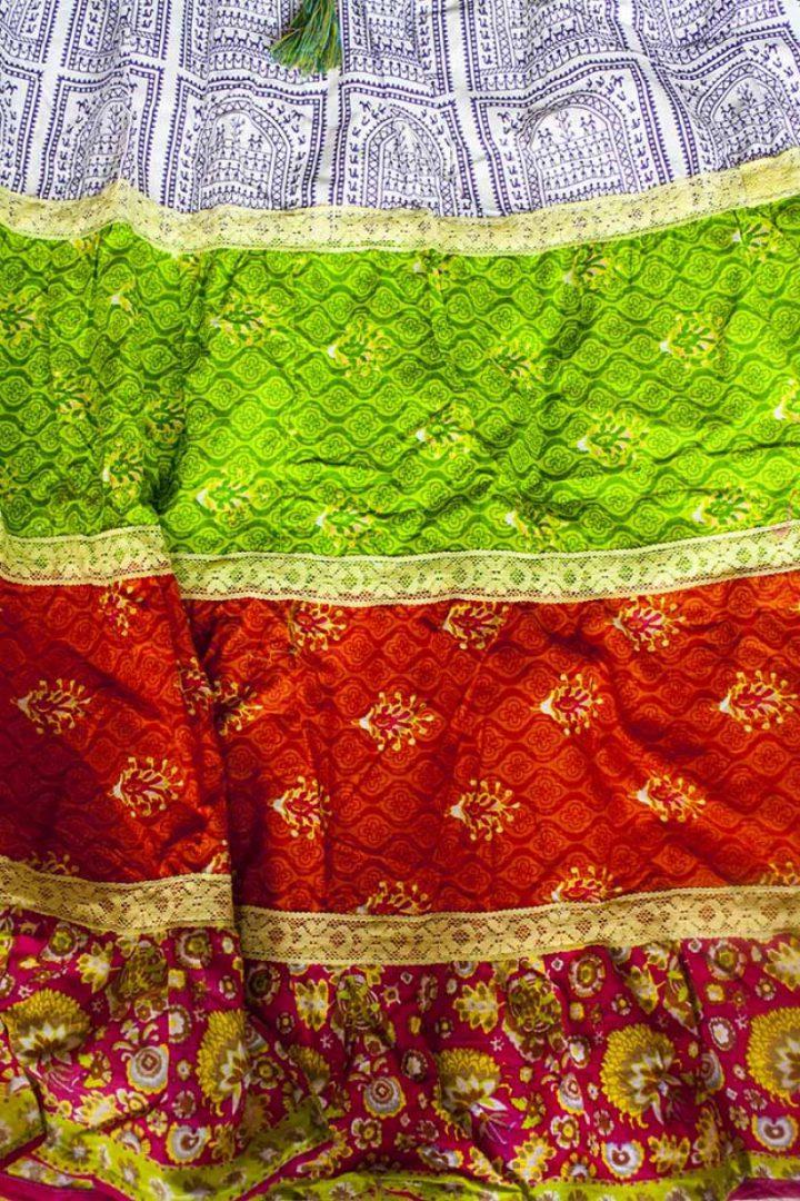 Bohemian Gypsy strokenrok multicolor rood oranje groen