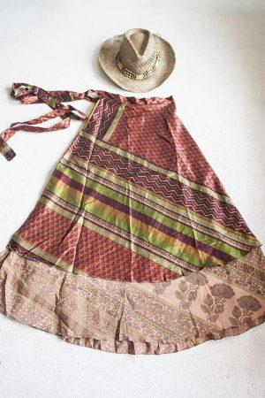 Gipsy bohemian sari wikkelrok bruinrood bordeaux groen