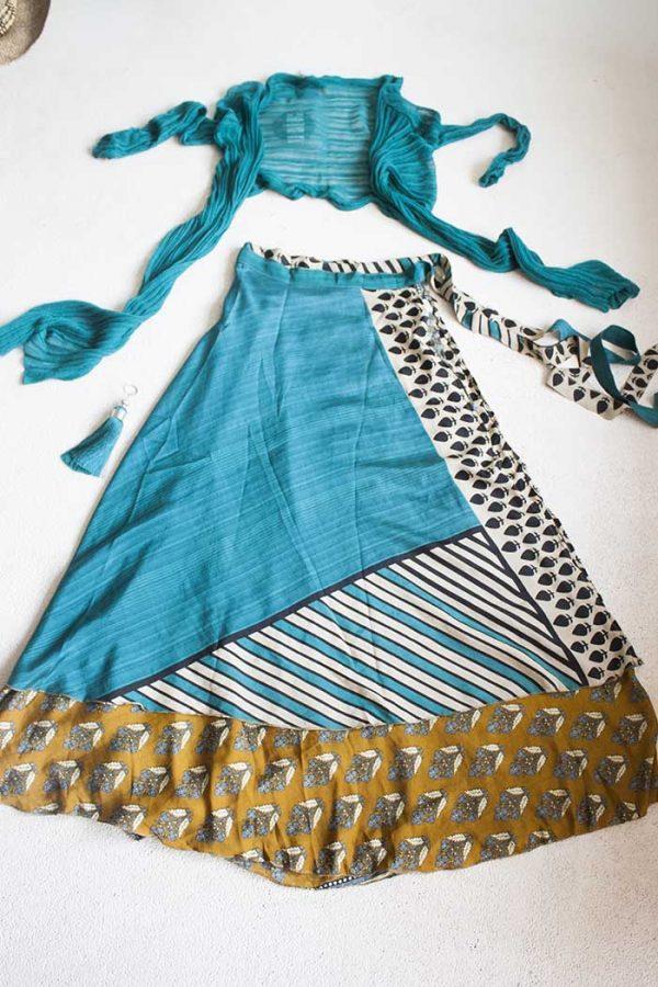 Gipsy bohemian sari wikkelrok petrol en oker