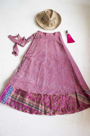 Gipsy bohemian sari wikkelrok roze met veel details