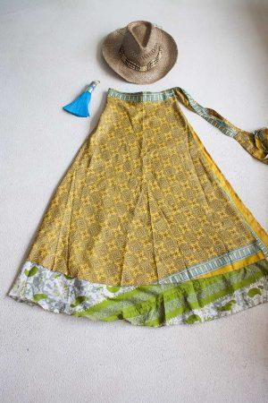 Gipsy bohemian sari wikkelrok vrolijk geel met groen