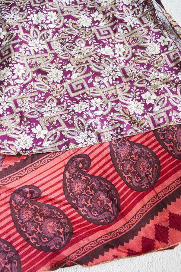Gipsy bohemian sari wikkelrokdonker fuchsia met koraalrood