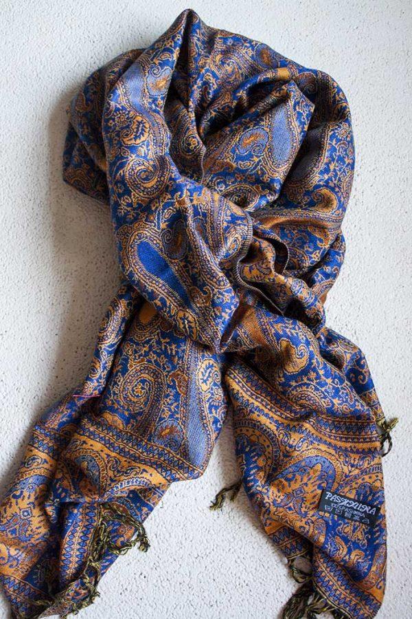 Pashmina sjaal kobalt oranje