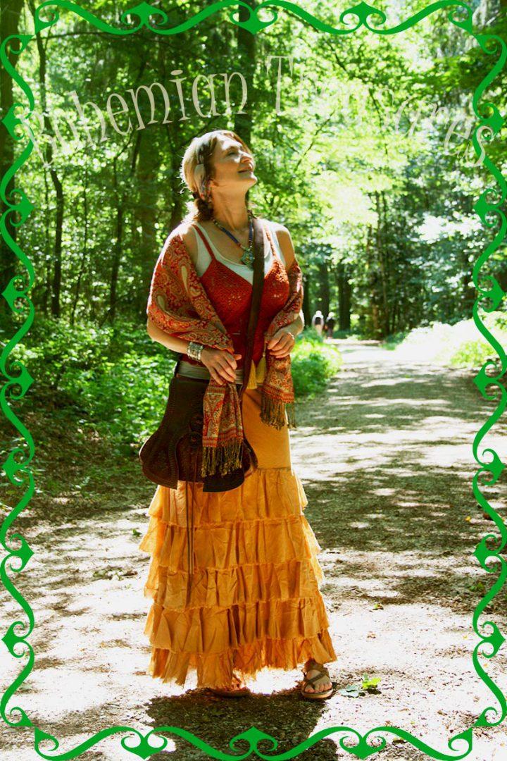 bohemian boho gypsy lange rok losse stroken beige bruin
