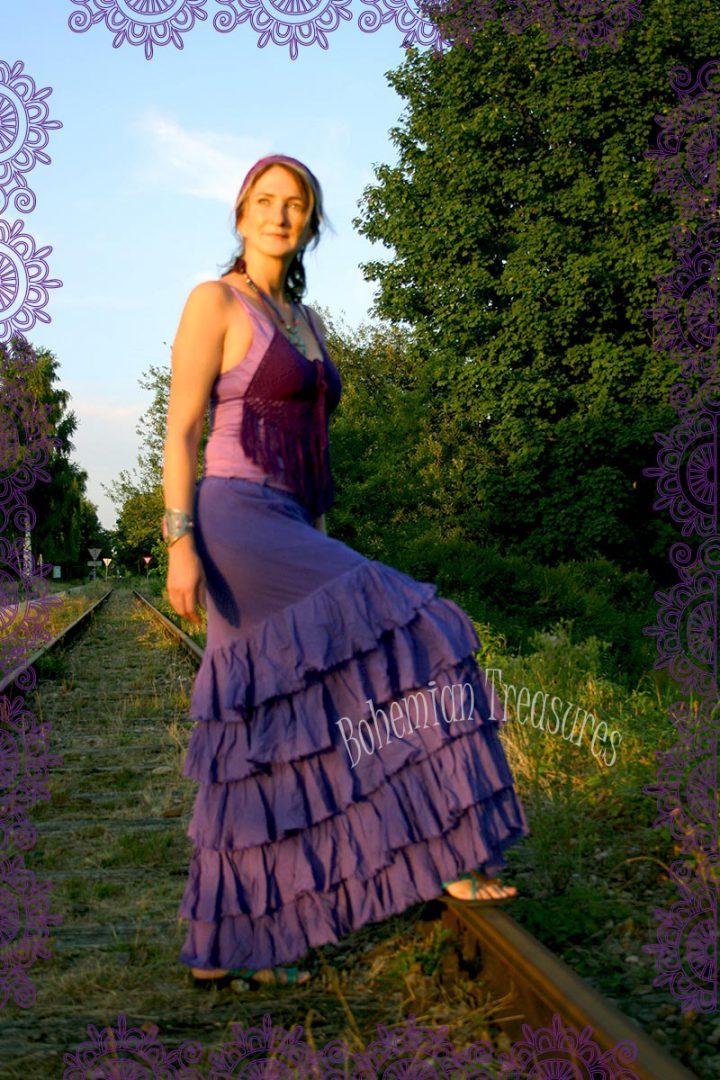 bohemian boho gypsy lange rok met losse stroken lavendelpaars