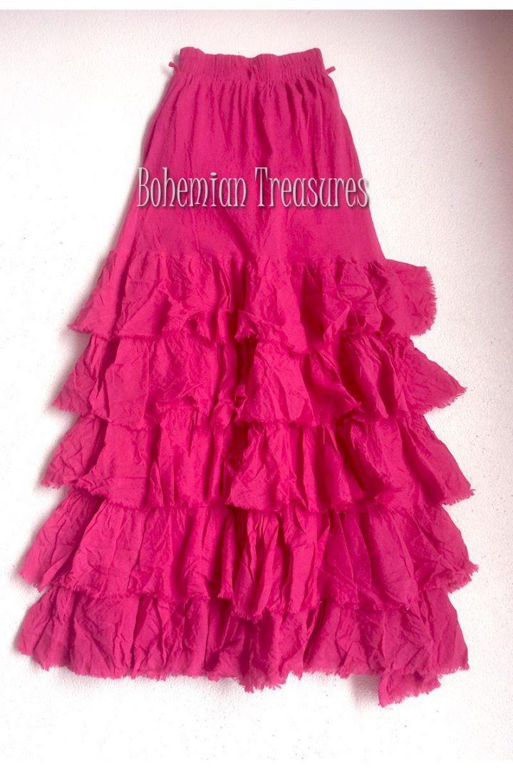 bohemian boho gypsy lange rok met losse stroken magenta roze rood