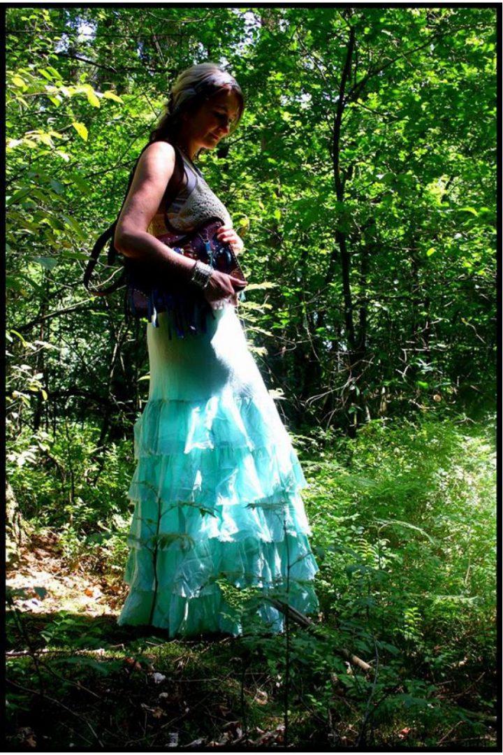 bohemian boho gypsy lange rok met losse strokent licht turqoise
