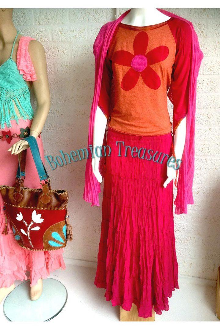 bohemian boho gypsy stroken rok magenta roze rood