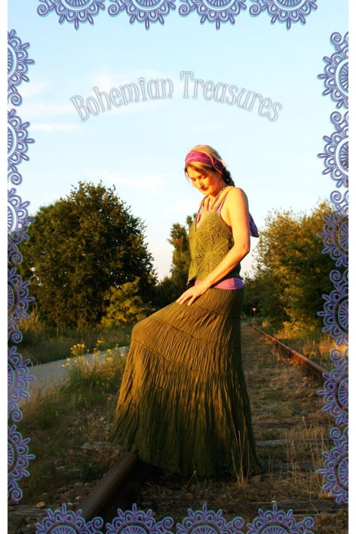 bohemian boho gypsy stroken rok natuur groen