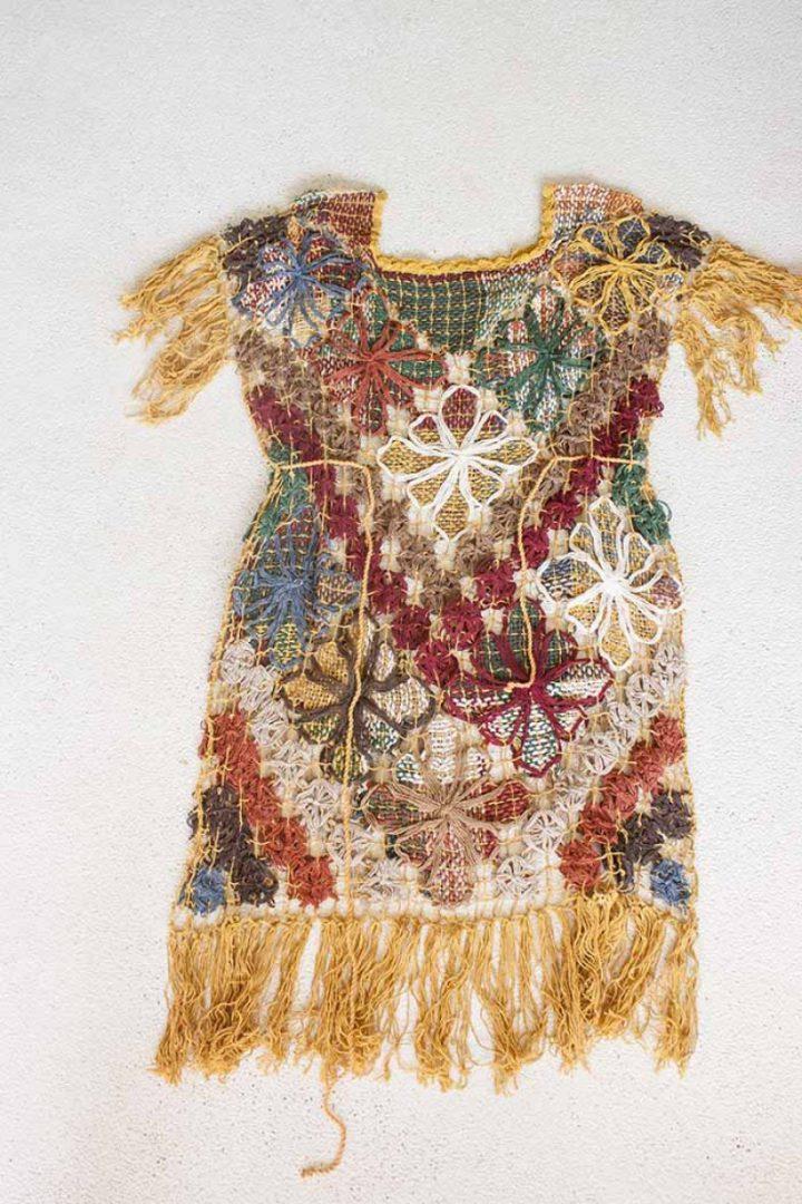 bohemian gypsy tuniek braziliaans knoopwerk lang oker met bordeaux