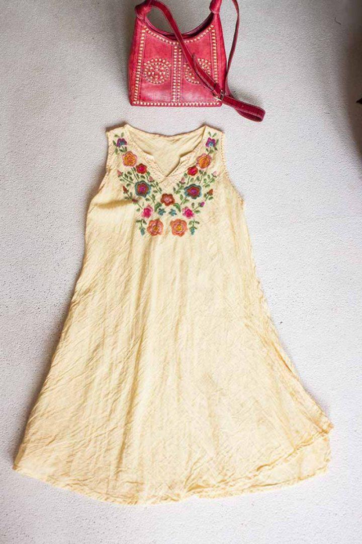 bohemian gypsy tuniek met borduursel geel rode bloemen