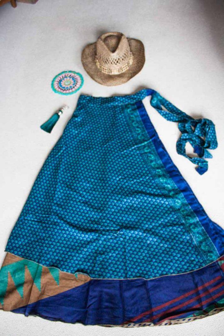 bohemian hippie gypsy wikkelrok blauw met donkerblauw