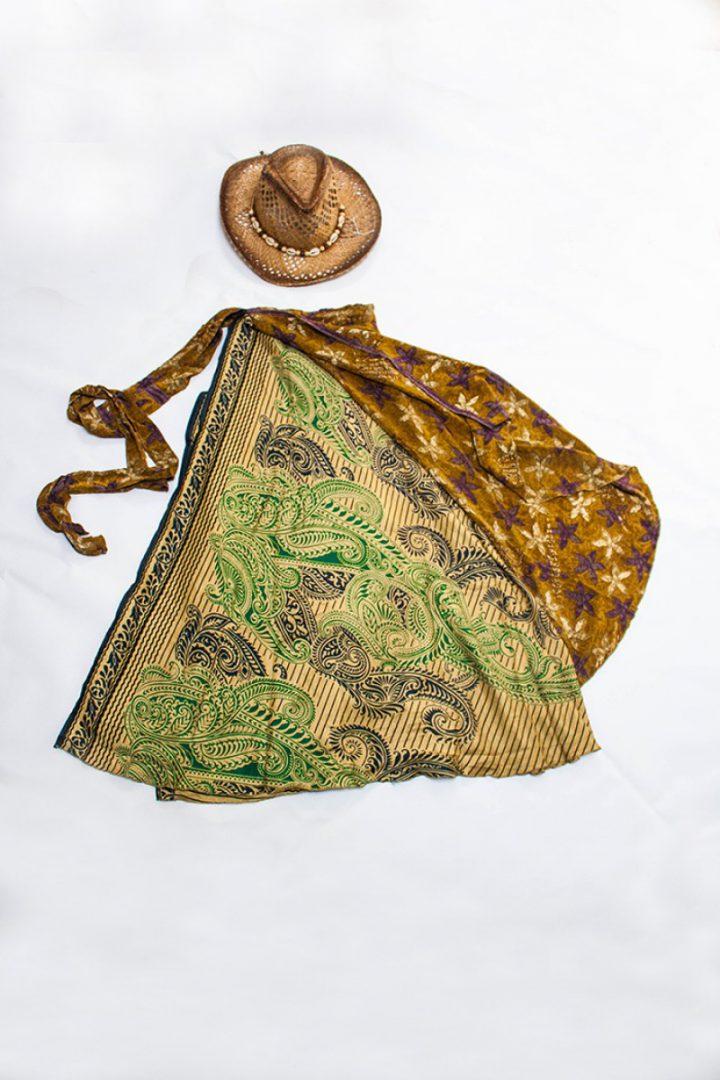 bohemian hippie gypsy wikkelrok geel met donker groen