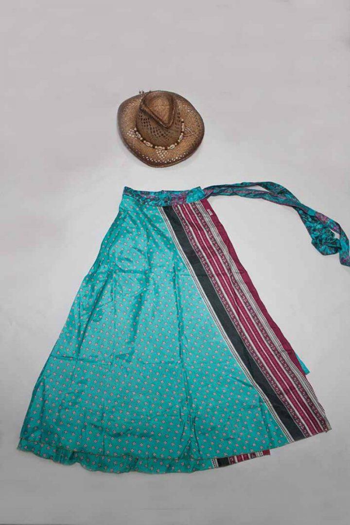 bohemian hippie gypsy wikkelrok oranje lichtblauw