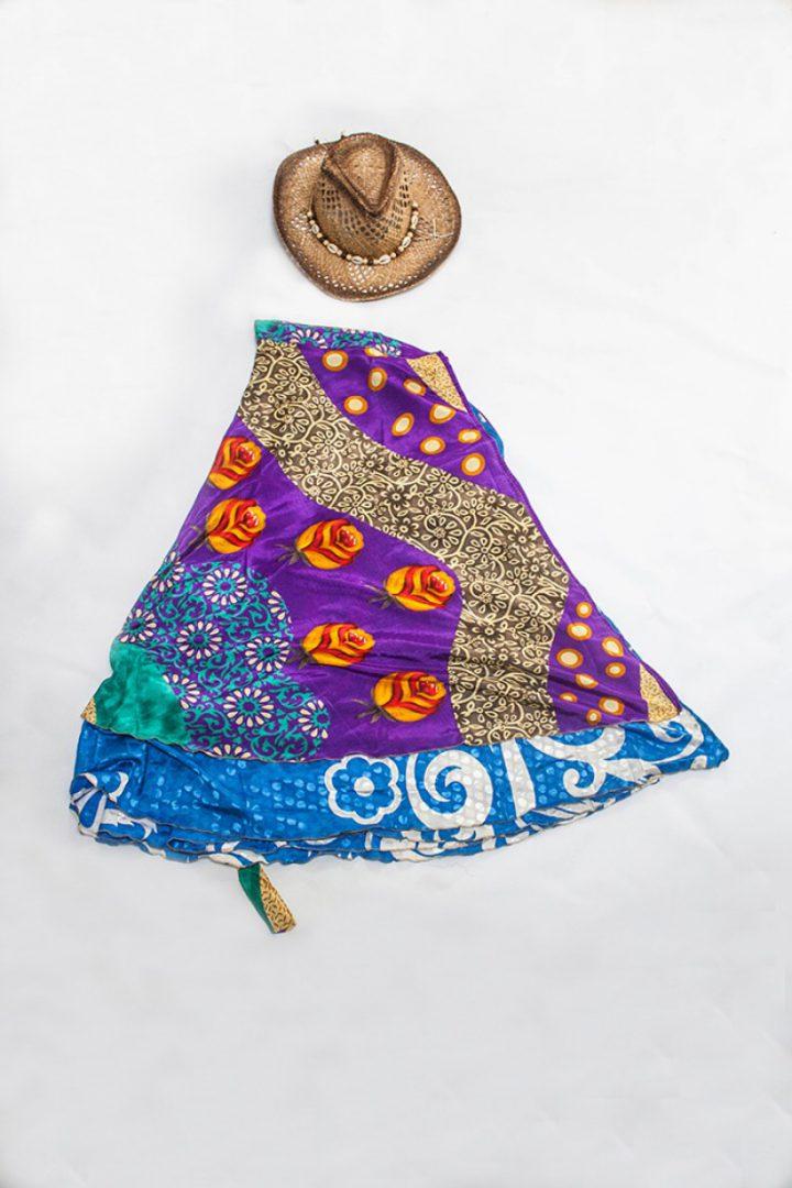 bohemian hippie gypsy wikkelrok paars met blauw
