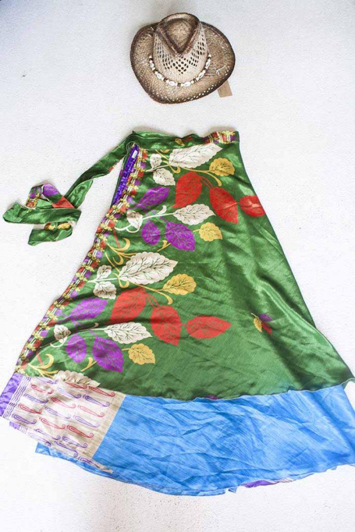boho bohemian gipsy hippie sari wikkelrok groen met blaadjes