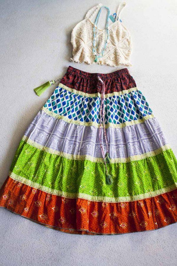 boho gyspy bohemian hippie strokenrok groen oranje blauw korter