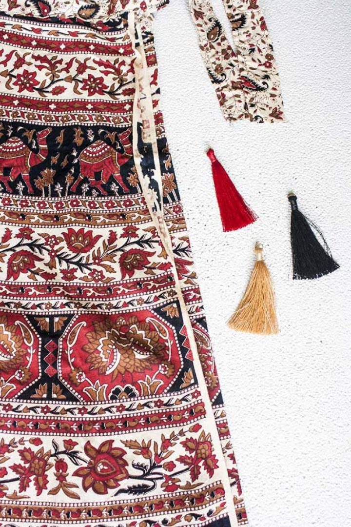 boho ibiza gypsy rok wikkelrok katoen rood zwart