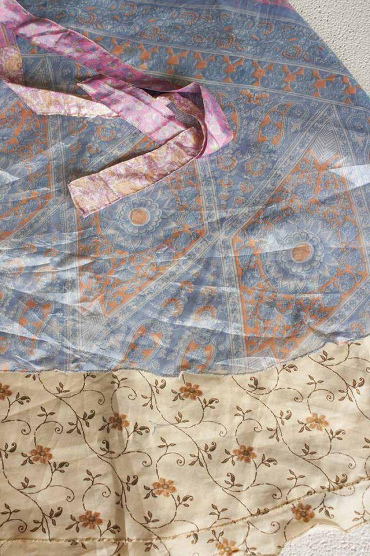 boho ibiza gypsy sari wikkelrok lichtblauw oranje