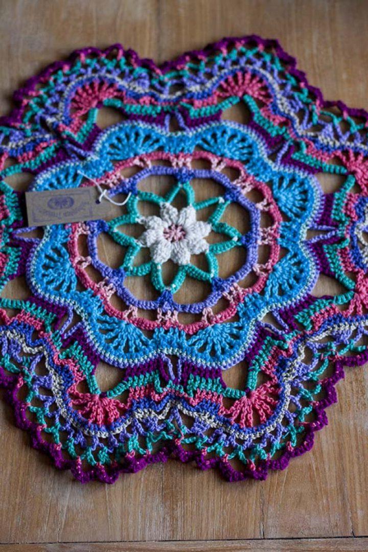 crochet mandala rug 60cm vintage colors