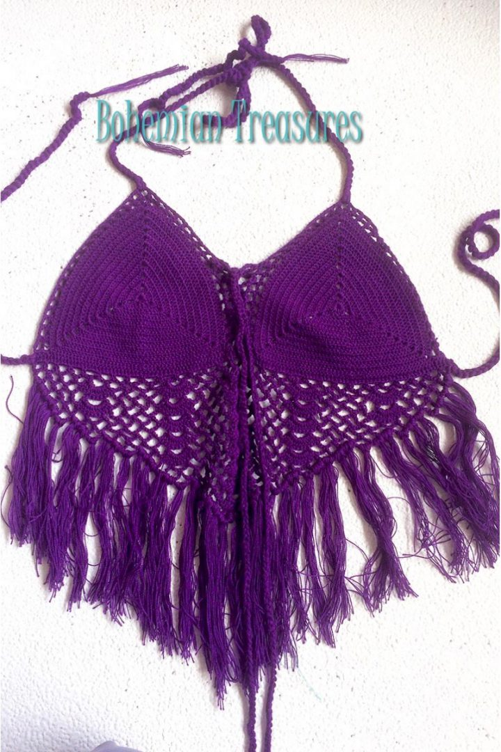 crochet top in purple
