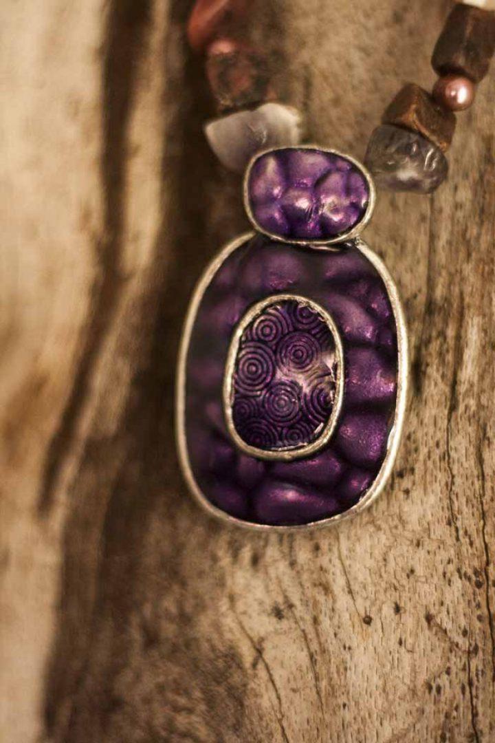 gypsy ketting edelsteen glas en paarse hanger