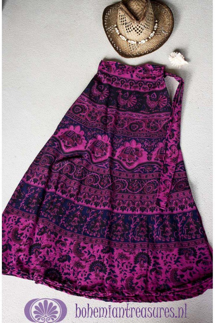 e276d1f8d06859 Bekijk Product  LANGE WIKKELROK KATOEN MET INDIA PRINTJES paars roze ...