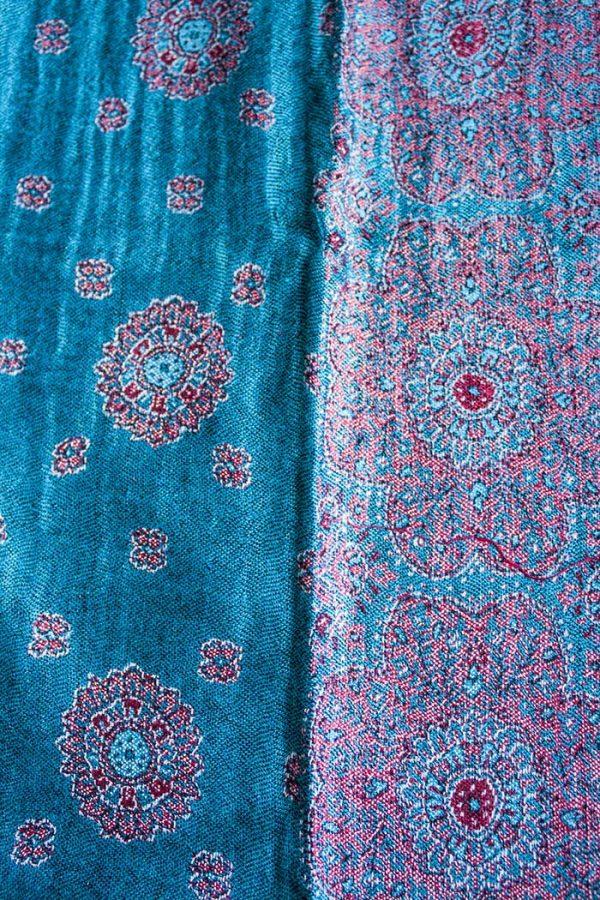 pashmina sjaal blauw met roze