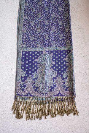 pashmina sjaal blauwpaars met licht turqoise blauw