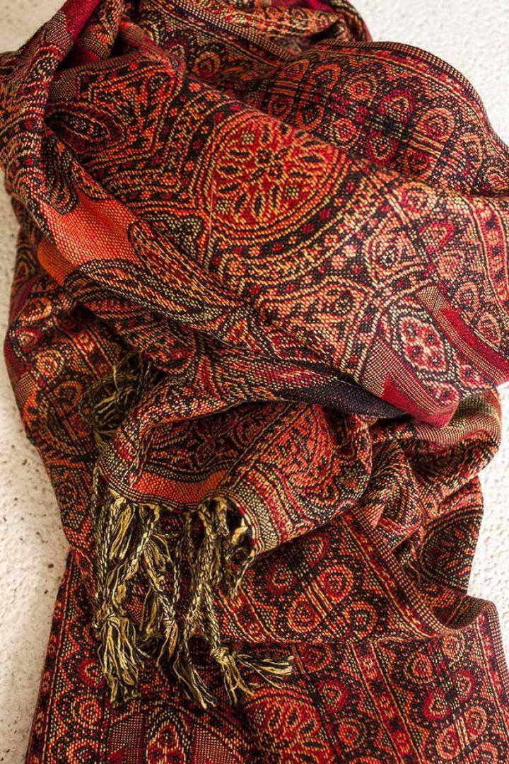 pashmina sjaal bruin oranje rood