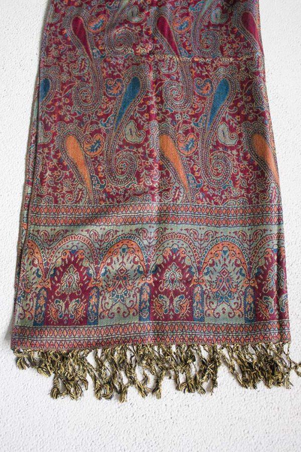 pashmina sjaal diep rood met blauw en lichtoranje