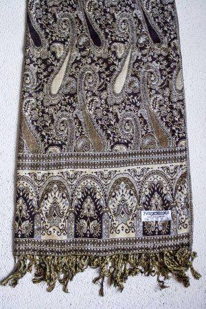 pashmina sjaal donkerbruin lichtbruin wit