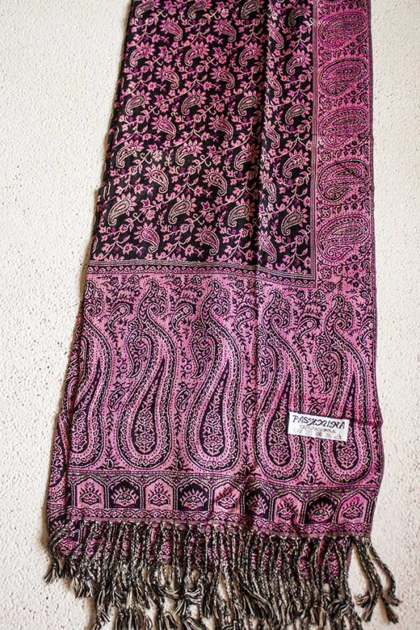 pashmina sjaal donkerbruin met roze