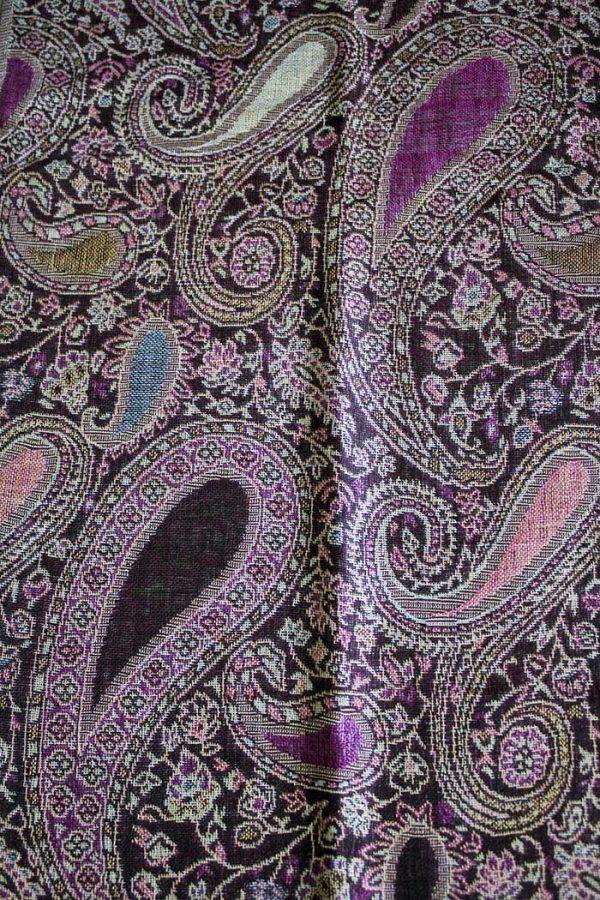 pashmina sjaal donkerbruin met zalm