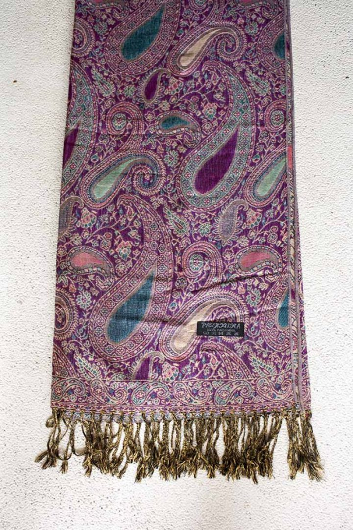 pashmina sjaal fuchsia roze met turqoise