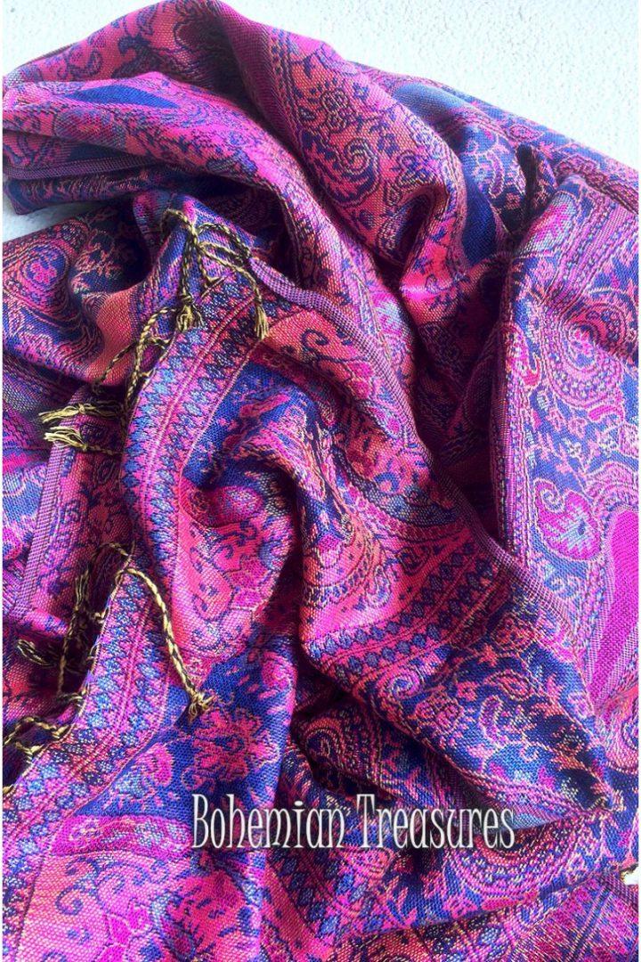 pashmina sjaal met franjes donkerpaars roze
