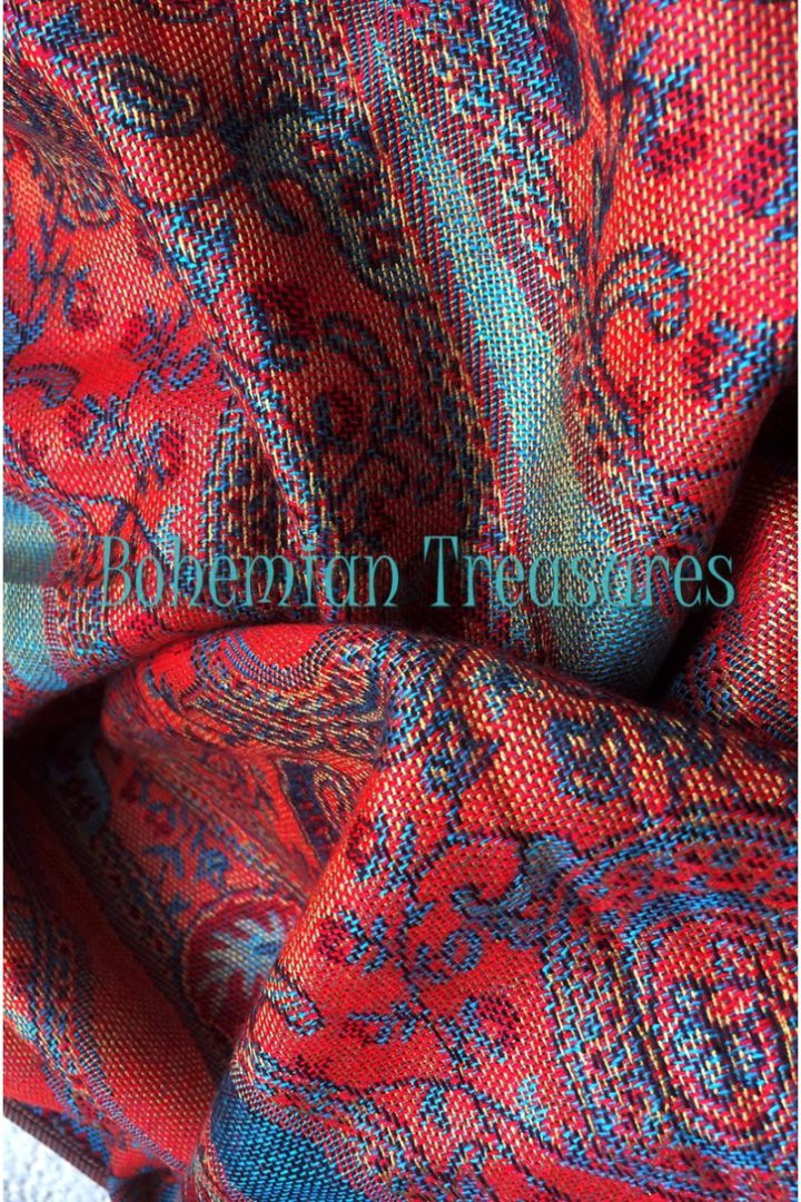 pashmina sjaal met franjes licht oranjerood