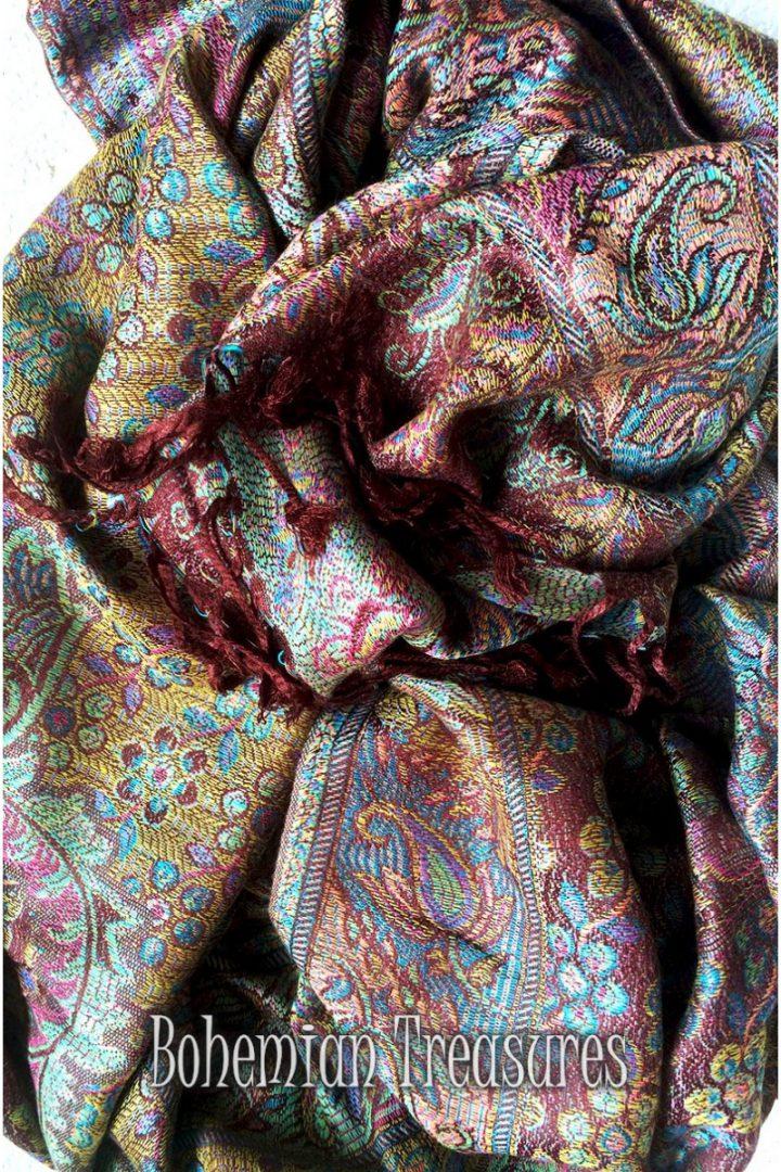pashmina sjaal met franjes pasteltinten