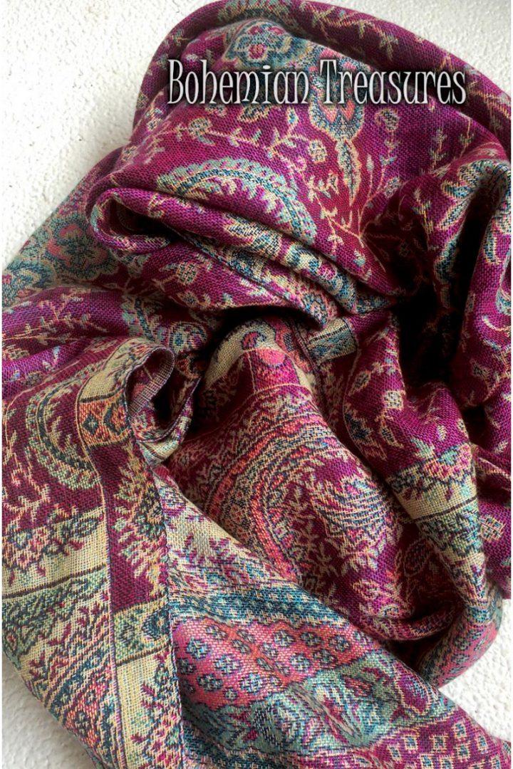 pashmina sjaal met franjes roze