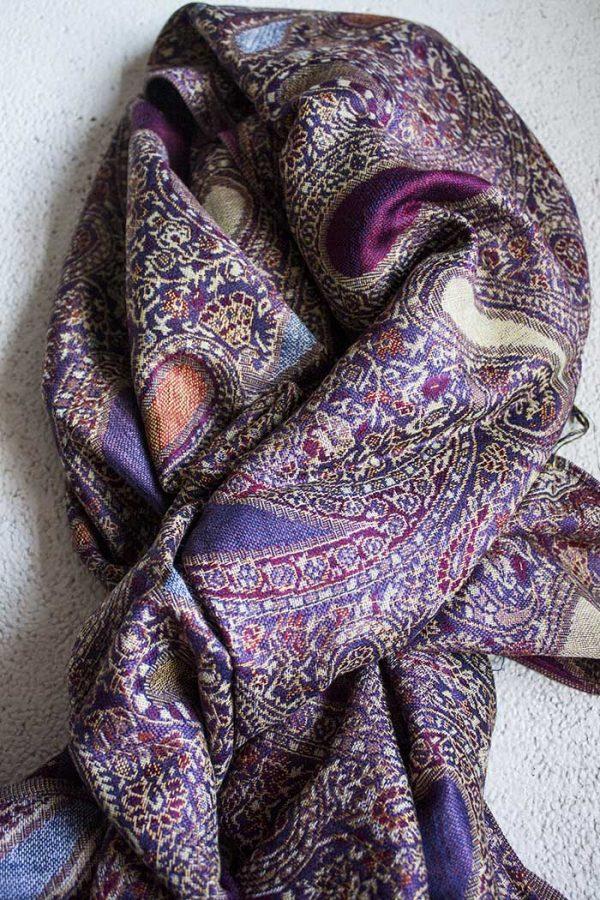 pashmina sjaal paars met oranje fuchsia en roomwit