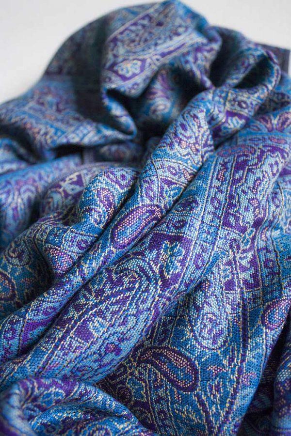 pashmina sjaal paars met turqoise blauw