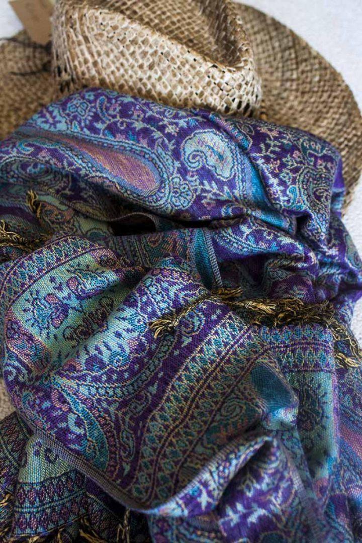 pashmina sjaal paars turqoise
