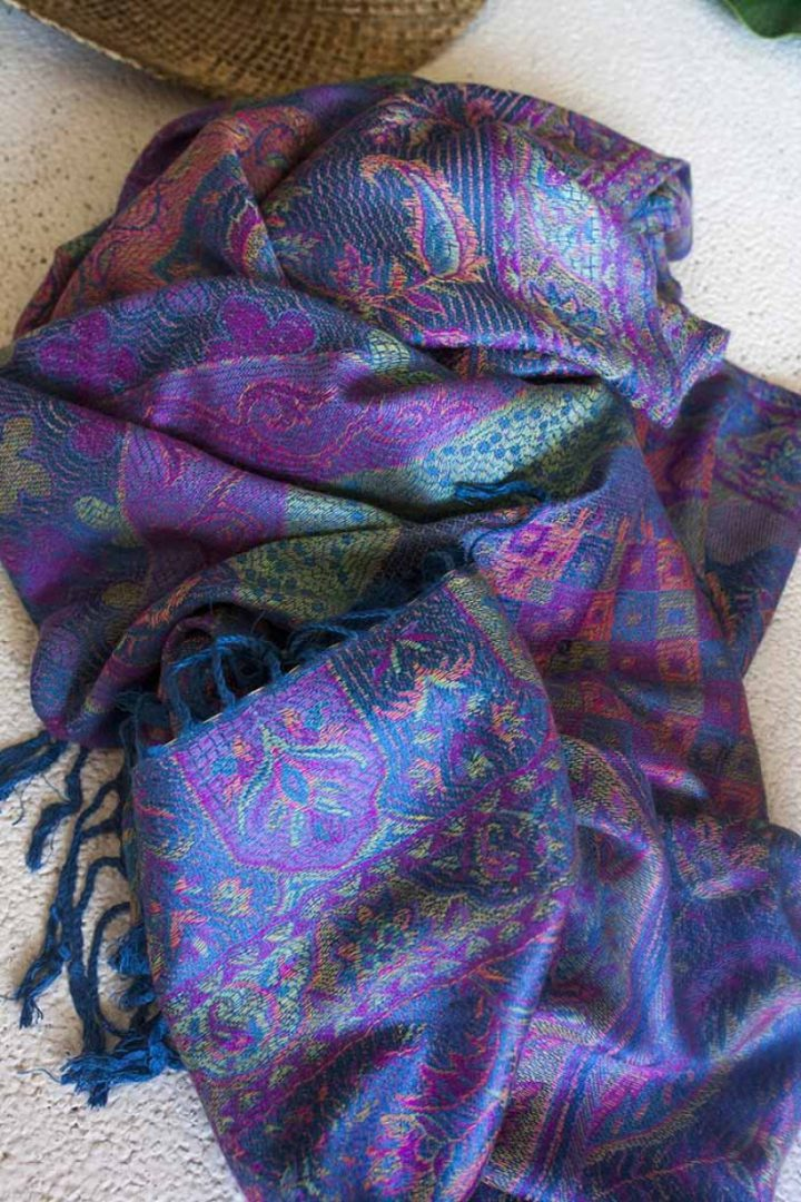pashmina sjaal paarsblauw roze