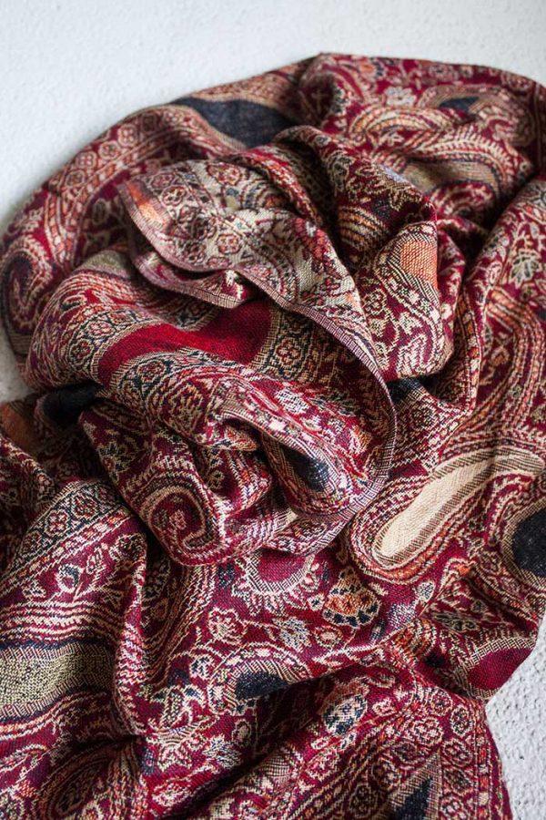 pashmina sjaal rood met oranje en zwart