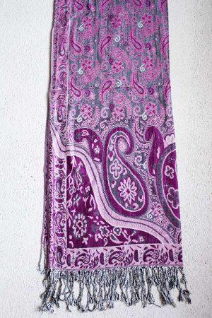 pashmina sjaal roze met grijs