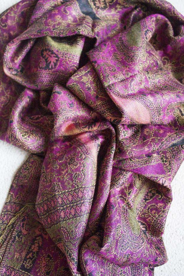 pashmina sjaal roze met zalm en zwart
